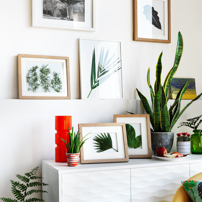 White and wooden photo frames hung on white wall.