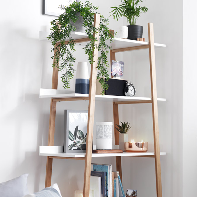 Scandi style Hygena Skanda ladder storage unit in living room.